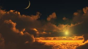 Moon clouds skyscapes sunlight wallpaper