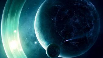 Moon outer space planets rings science fiction wallpaper