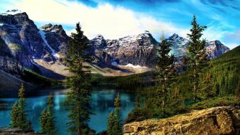 Moraine lake clouds lakes landscapes mountains wallpaper