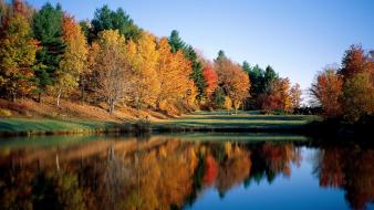Nature trees autumn lakes reflections colors wallpaper