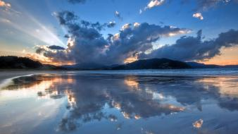 New zealand bay beaches clouds hills wallpaper