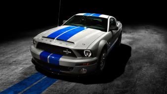 Night cars ford mustang shelby blue stripe 2013 wallpaper