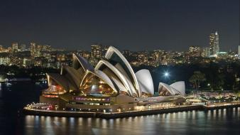 Night sydney opera house wather sea wallpaper