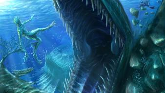 Nightmare leviathan art creatures teeth aquatic underwater Wallpaper