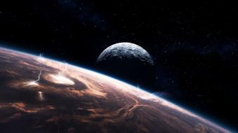 Outer space planets storm wallpaper
