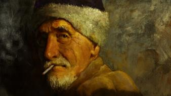 Paintings beard artwork cigarettes hats portraits old man wallpaper