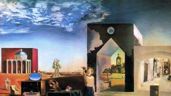 Paintings clouds landscapes desert surrealism salvador dalí artwork wallpaper