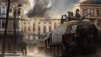 Paris soldiers war guns tanks artwork nazis wallpaper