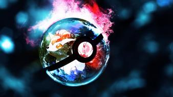 Pokeball pokemon cartoons glowing lights wallpaper