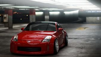 Red cars underground nissan parking 350z reflections lot wallpaper