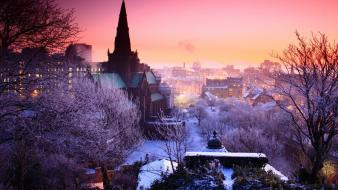 Snow cityscapes church dusk wallpaper