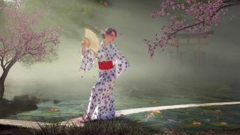 Spring kimono artwork japanese clothes wallpaper