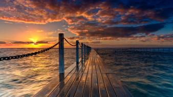 Sunset bridges chains waterscapes wallpaper