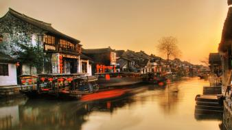 Sunset china old houses rivers wallpaper