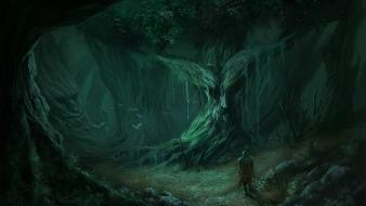Trees dark forests fantasy art lonely warriors wallpaper