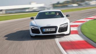 White cars supercars motion audi r8 Wallpaper
