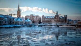 Winter cityscapes sweden stockholm wallpaper