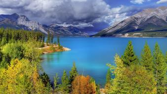 Abraham lake canada autumn clouds forests wallpaper