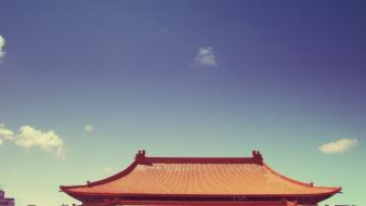 Architecture oriental pagoda skies wallpaper