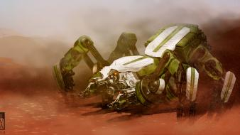 Artwork deserts futuristic mecha robots wallpaper