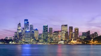 Australia sydney bay buildings city lights wallpaper