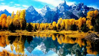 Autumn lakes mountains nature trees wallpaper
