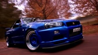 Blue cars nissan skyline gtr r34 wallpaper