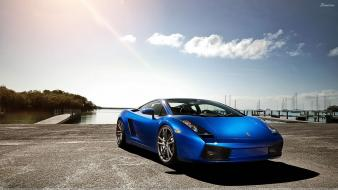 Blue lamborghini front gallardo lp560 wallpaper