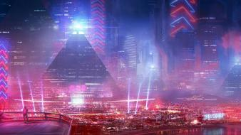 Cities cityscapes futuristic city light Wallpaper