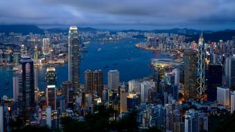 Cityscapes buildings hong kong morning citylights cities wallpaper