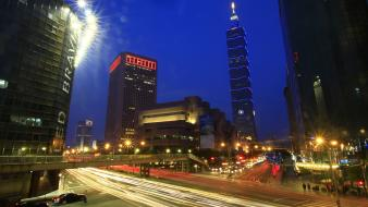 Cityscapes night taiwan citylights taipei 101 cities wallpaper