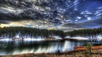 Clouds landscapes nature snow trees lakes skies wallpaper