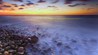 Coast fog mist pebbles hdr photography sea Wallpaper