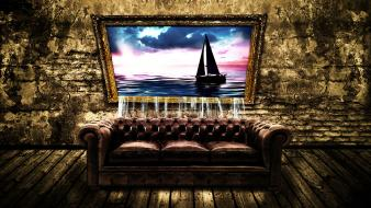 Couch grunge surreal art Wallpaper
