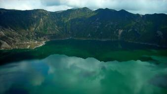 Ecuador clouds crater green lakes wallpaper