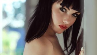 Eyes mellisa clarke faces bangs black hair wallpaper
