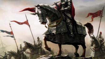 Flags horses knights swords war wallpaper