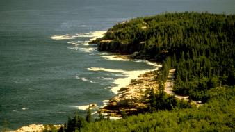 Forests usa roads national park acadia sea wallpaper