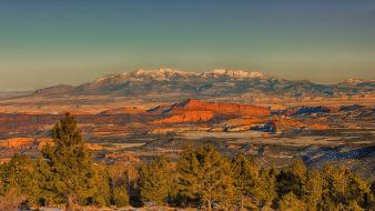 Forests valleys tau utah evening snowy peaks wallpaper