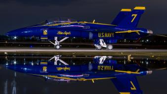 Hornet us navy aircraft blue angels night wallpaper