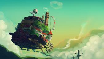 Houses fantasy art artwork floating island chimneys wallpaper