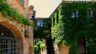 Houses town spain catalonia greenery wallpaper
