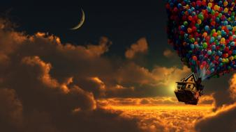 Houses up (movie) digital art artwork balloons wallpaper