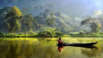 Indonesia boats lakes Wallpaper