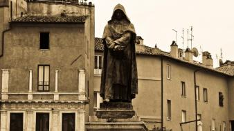 Italy rome buildings sculptures sepia wallpaper
