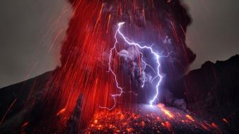 Japan volcanoes lightning eruption wallpaper