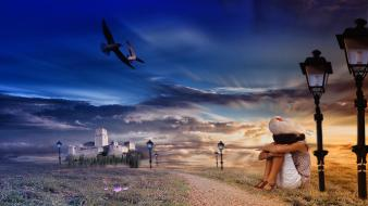 Landscapes castles birds grass paths dreams skies wallpaper
