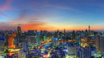 Landscapes cityscapes buildings skyscrapers bangkok citylights skies Wallpaper
