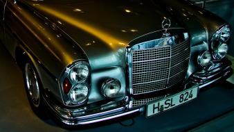 Mercedes-benz cars lights old silver wallpaper