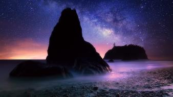 Milky way starry night twilight beaches land wallpaper